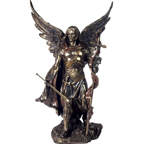 Product Information A highly detailed figurine depictingArchangel Gabriel holding a spear in one hand and his trumpet in the other. Made of quality resin with a bronze finish and subtle colour highlights. A Nemesis Now product. Approx. 33.5cm.