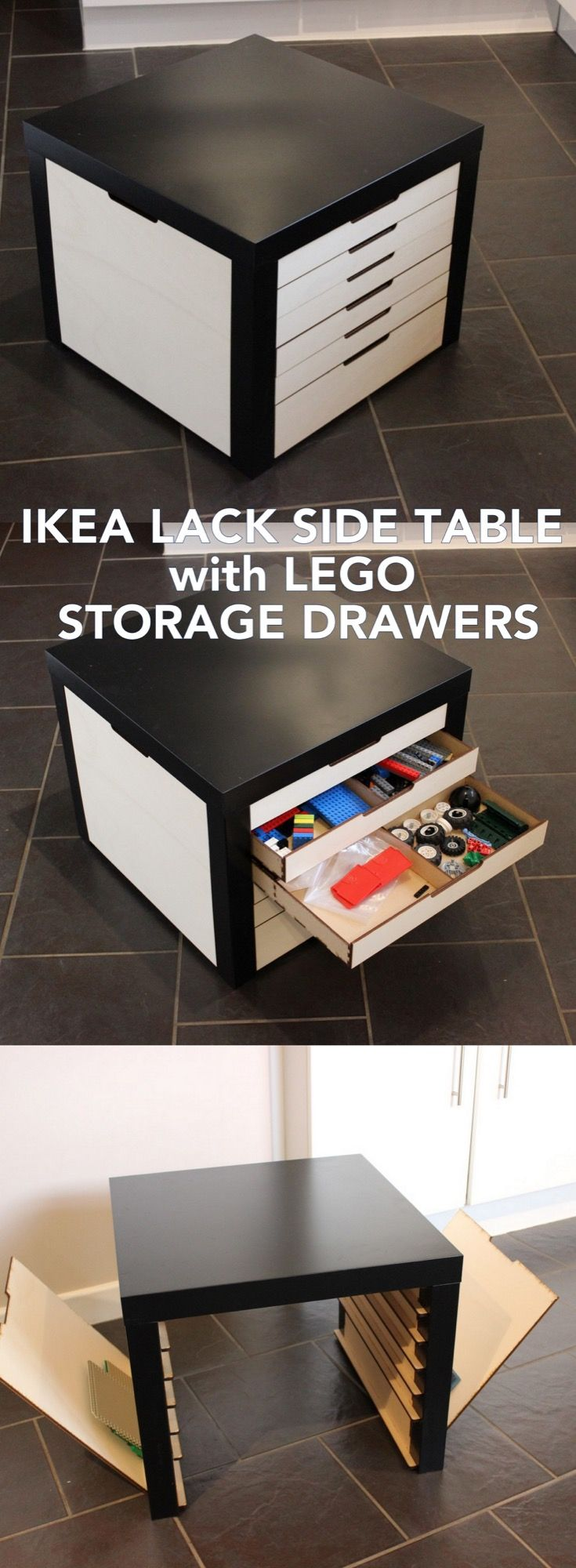Lego Storage Drawers Beautifully Built Into Lack Table Ikea Hackers Lego Storage Drawers Lego Storage Storage Hacks Bedroom [ 2000 x 735 Pixel ]