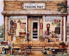 Trading Post foil art print showing an old time wooden building with a gum-ball machine