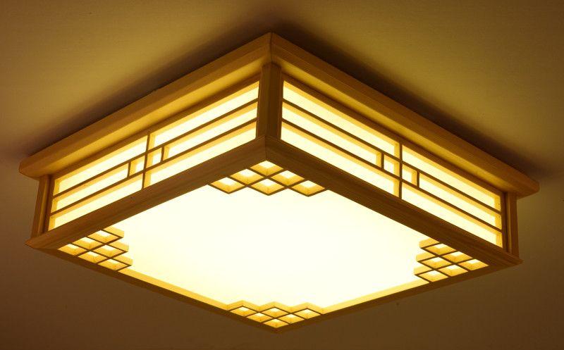 Dimmable Japanese Ceiling Lights Indoor Lighting Led Square Modern Wooden Ceiling Lights Living Ceiling Lights Ceiling Lights Living Room Living Room Lighting