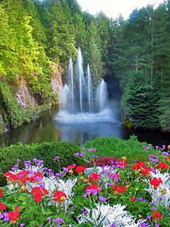 Download Free Waterfalls And Flowers Mobile Wallpaper Contributed By Fisichella Is Uploaded In Nature Wallpapers