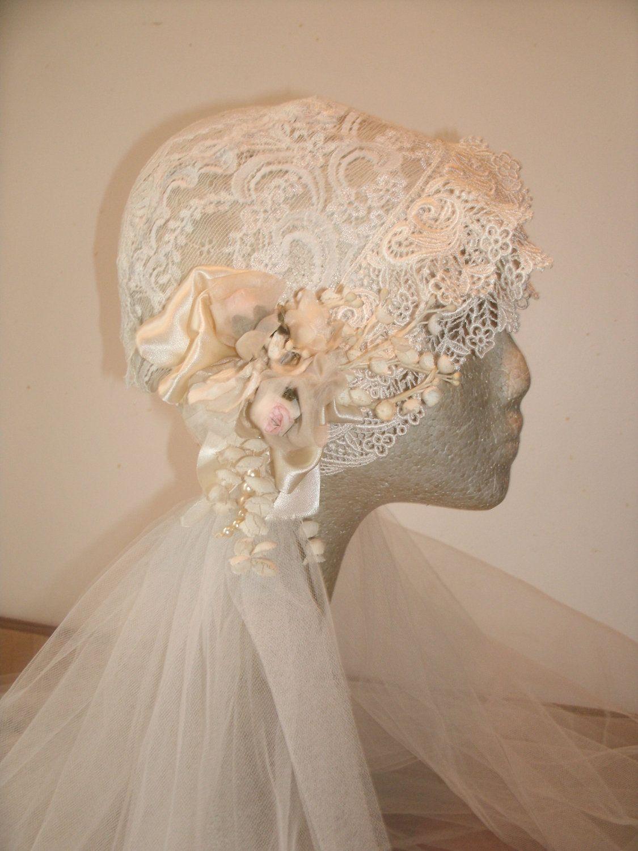 1920sivory Fitted Bridal Cap And Veil By Weddingsintime On Etsy Wedding Dresses Ebay Fantasy Wedding Dresses Bridal Headpieces