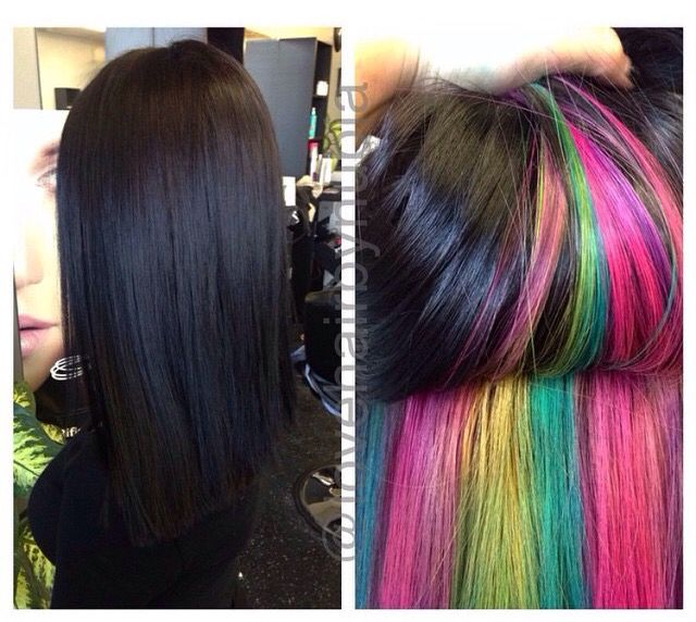 peek boo rainbow hair color #joico