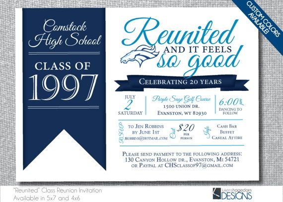 Reunited Class Reunion Invitation - 10,20,25,30,35,40 - Custom - class reunion invitation template