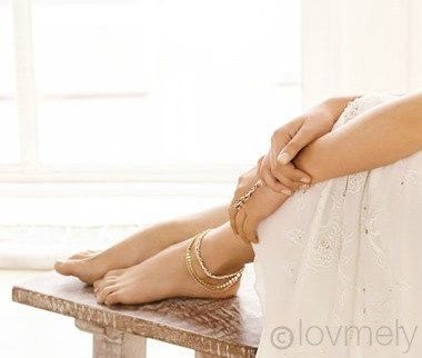 LOVMELY ANKLET triple chain white Coral or turquoise by LovMely, $45.00