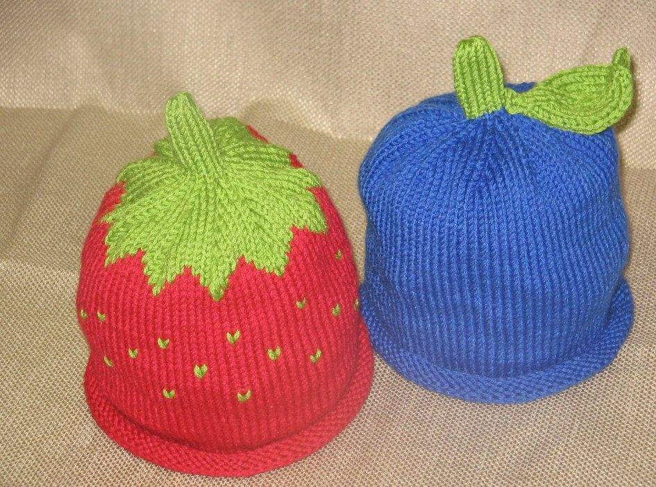 Knit Baby Strawberry and Blueberry Fruit Hats by KnitsbyRebecca ...