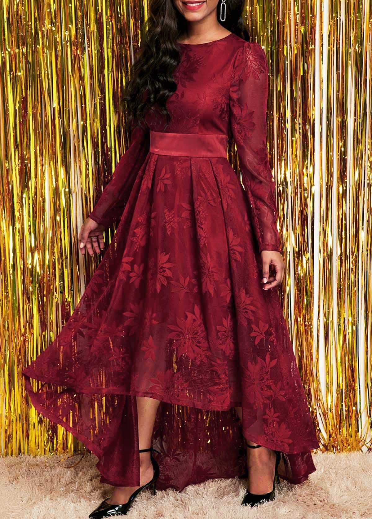 Lace Round Neck Long Sleeve High Low Dress Rosewe Com Usd 33 70 Lace Dress Red Lace Long Sleeve Dress Long Sleeve Lace Dress [ 1674 x 1200 Pixel ]