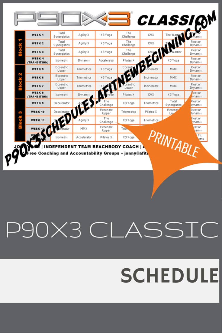 get free printable p90x3 schedules. choose from classic, lean, mass
