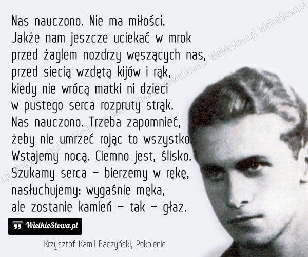 Nas Nauczono Baczyński Krzysztof Ból Cierpienie łzy