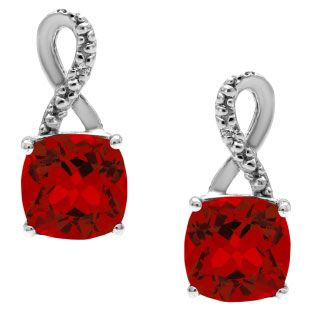 Sterling Silver Cushion-Cut Ruby Birthstone Diamond Drop Earrings Jewelry Available Exclusively at Gemologica.com