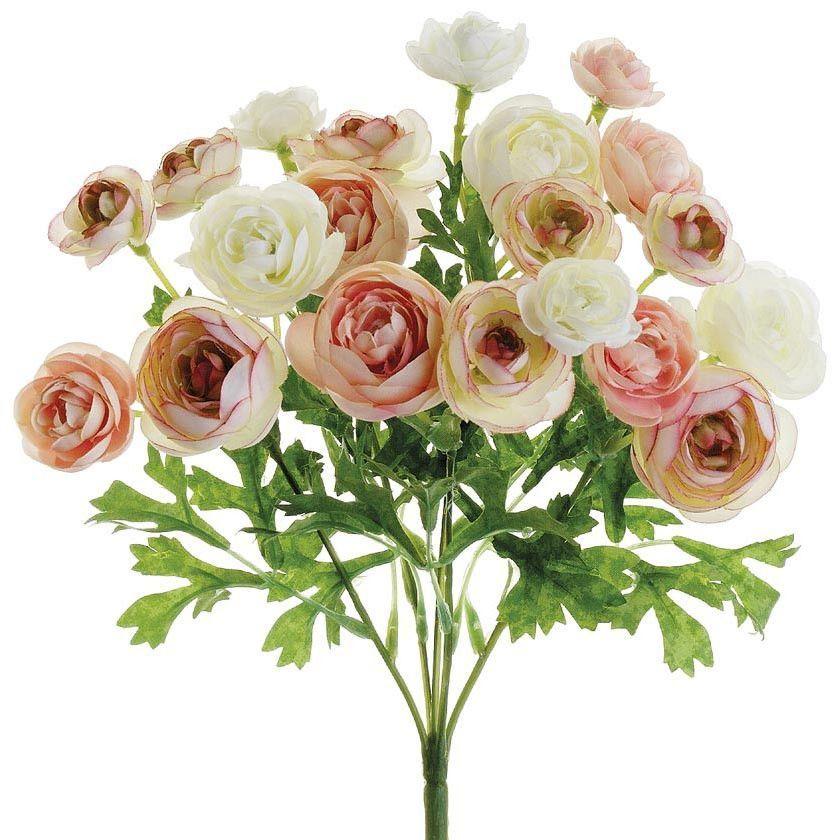 Mini Silk Ranunculus Bush In Pink Ivory 10 Silk Flowers Wedding Silk Ranunculus Unique Wedding Flowers