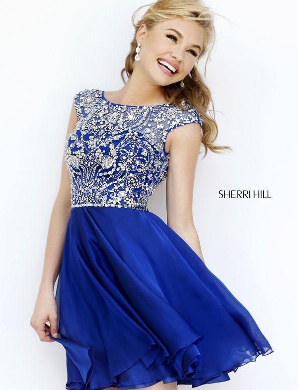 Sherri Hill 32320 Navy Short Beaded A Line Homecoming Dress