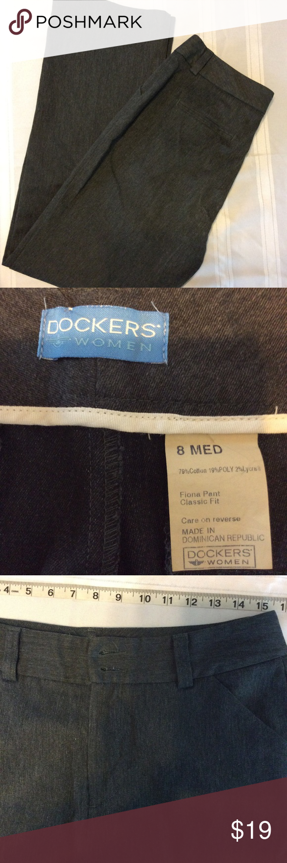 Dockers Womens Classic Pant Med Gray Dress Slacks 100