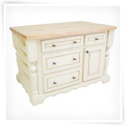 Entertaining Kitchen Island with Drawers by Jeffrey Alexander - Antique White