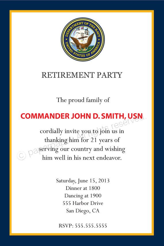 military retirement party invitation all by paperpapelshop on etsy