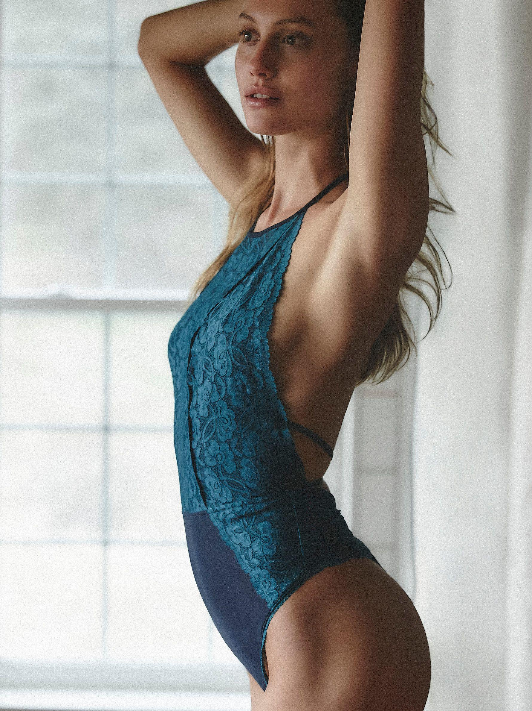 Lace bodysuit high neck  Dance Around Bodysuit  Delicate lace bodysuit featuring a high neck