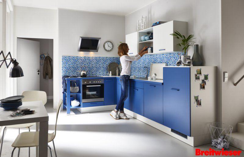 PINO Einbauküche in einer Front-Kombi von Blau und Weiß Deine - küchen arbeitsplatte sonoma eiche