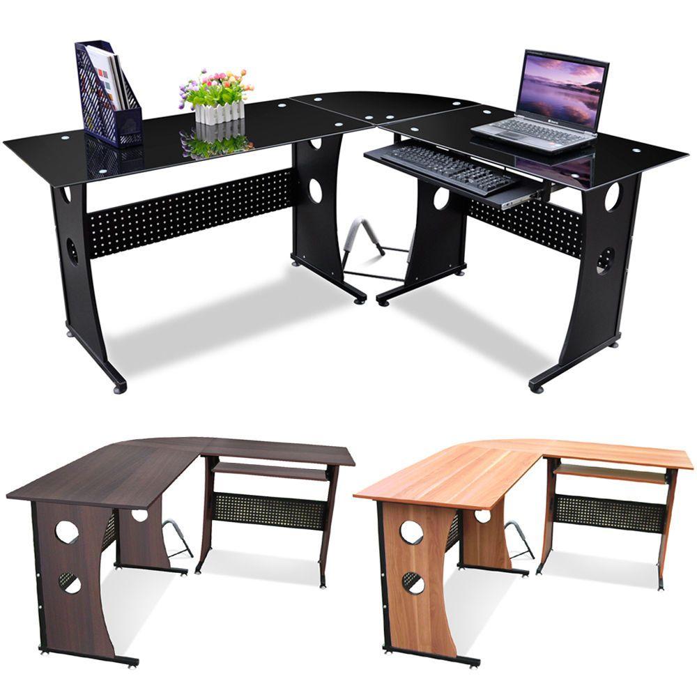 New L Shape Designer Computer Corner Desk PC Study Table Home Office  Furniture