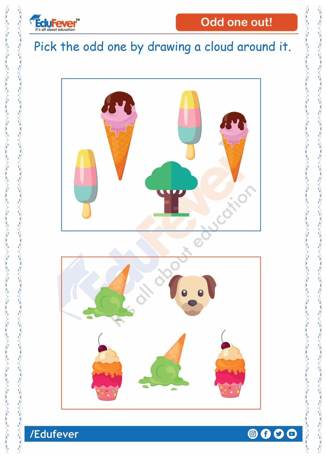 Pick Odd One Out Ukg Worksheet Joyful Learning Worksheets For Kids Worksheets [ 1792 x 1278 Pixel ]