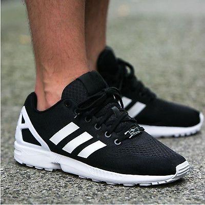 Mens Adidas Originals ZX Flux EM Trainers Torsion Black White ...