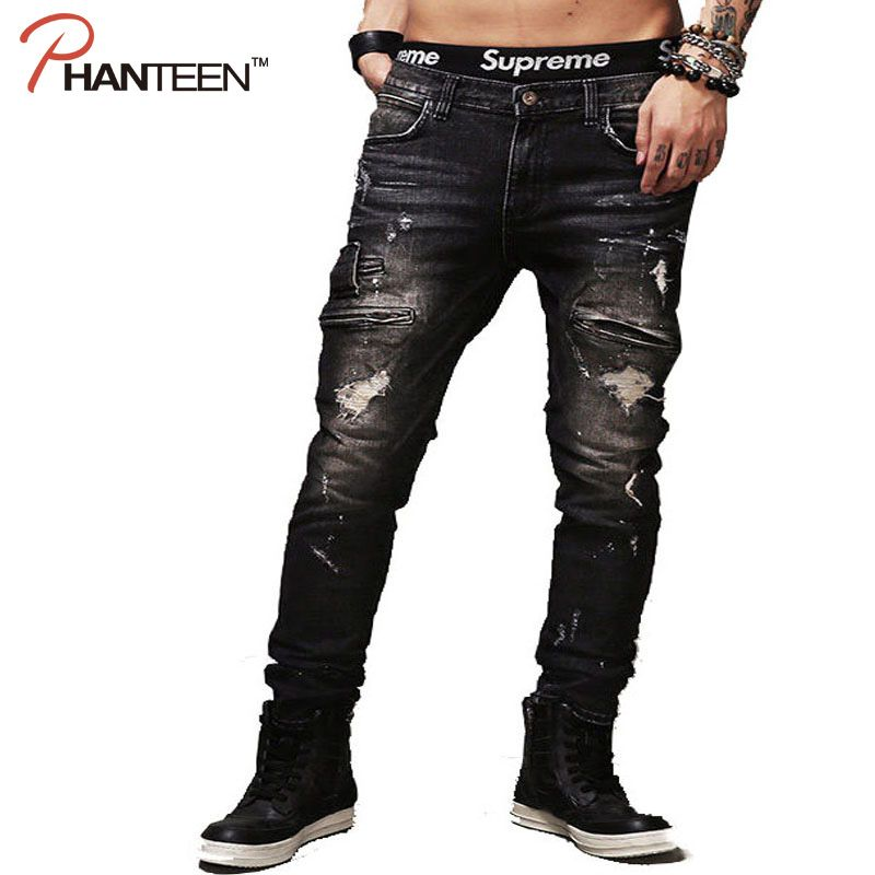 Phanteen Kanye West Style Man Jeans Holes Ripped Vintage Washed Motorcycle Jeans Rock And Roll Fashion Men Brand Trousers