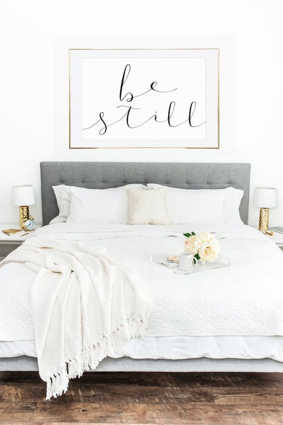 Room · Contemporary Chic Bedroom In White With Modern Wall Art ...