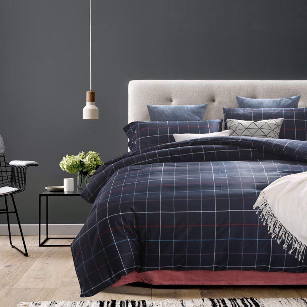 Blue Grid/Plaid Simple Design Queen Size Duvet Cover Sets