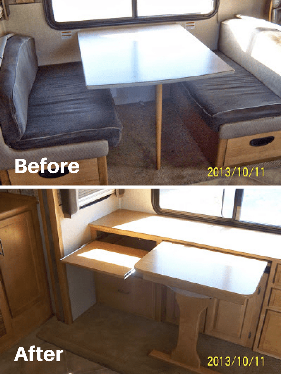 Removed Dinette From Motorhome And Added Custom Built Table Desks Rvs Campers Travel Trailerotorhomes Without The Dining Booth