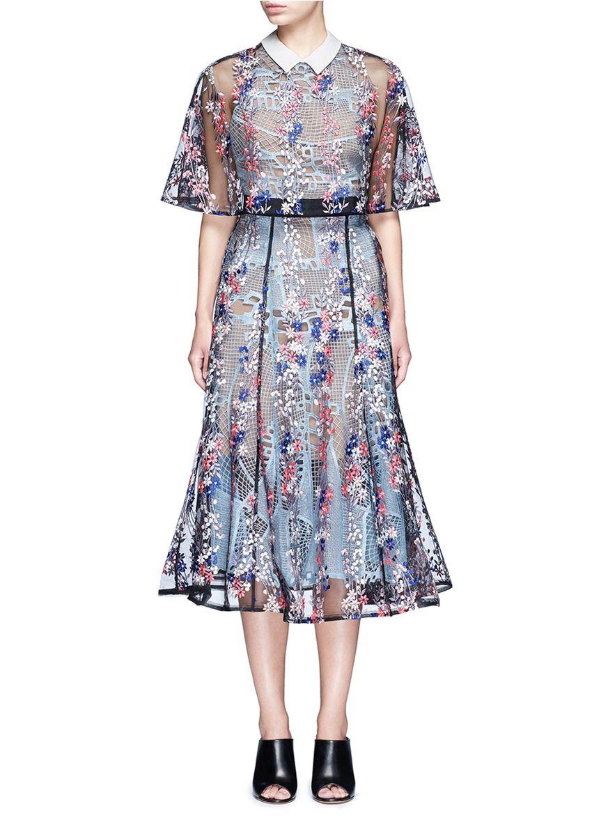 SELF-PORTRAIT 'Floral Vine' Embroidered Lace Cape Midi Dress. #self-