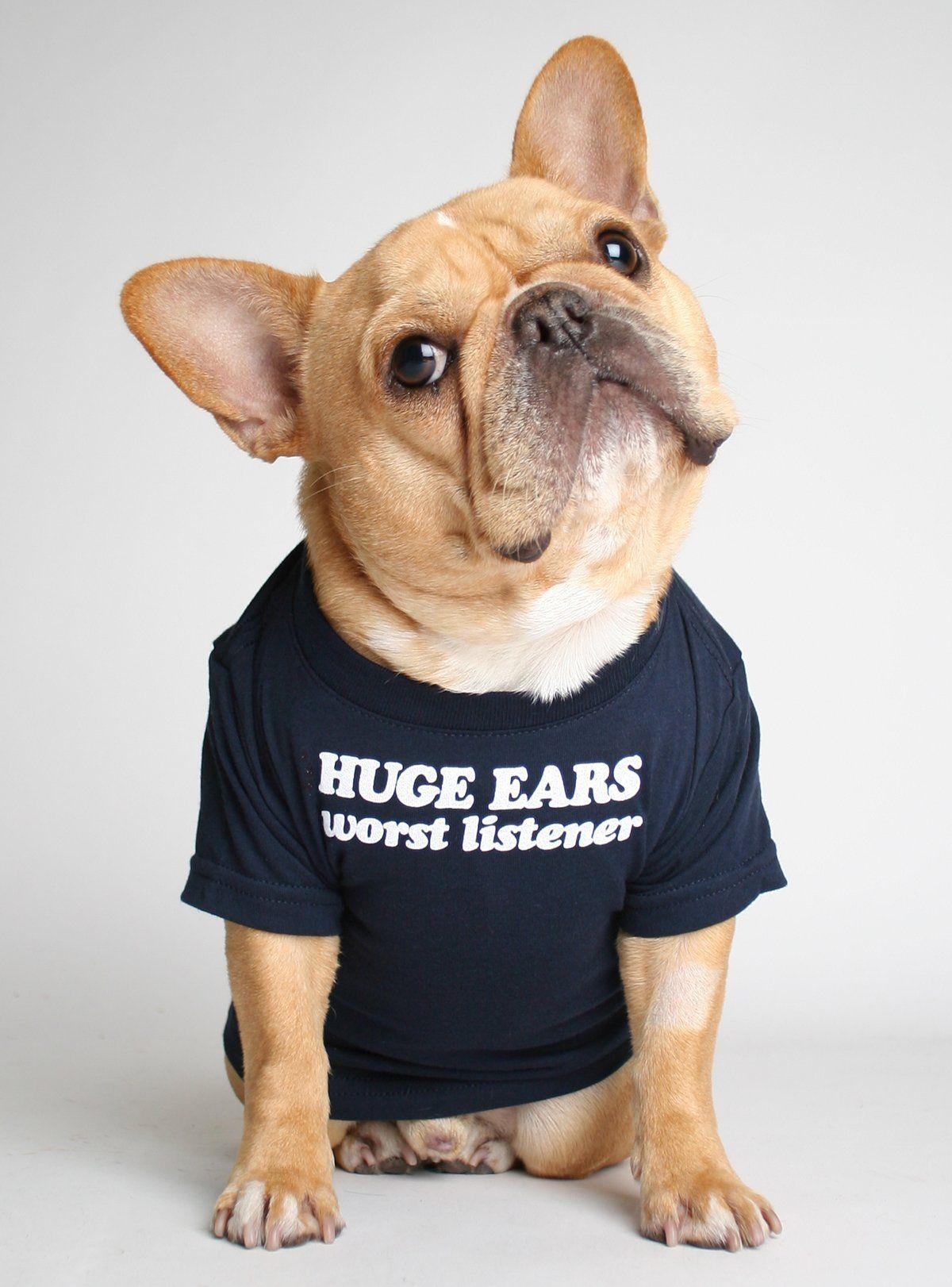 Huge Ears Worst Listener Dog Tee Dogs Tee French Bulldog Puppies Bulldog Puppies