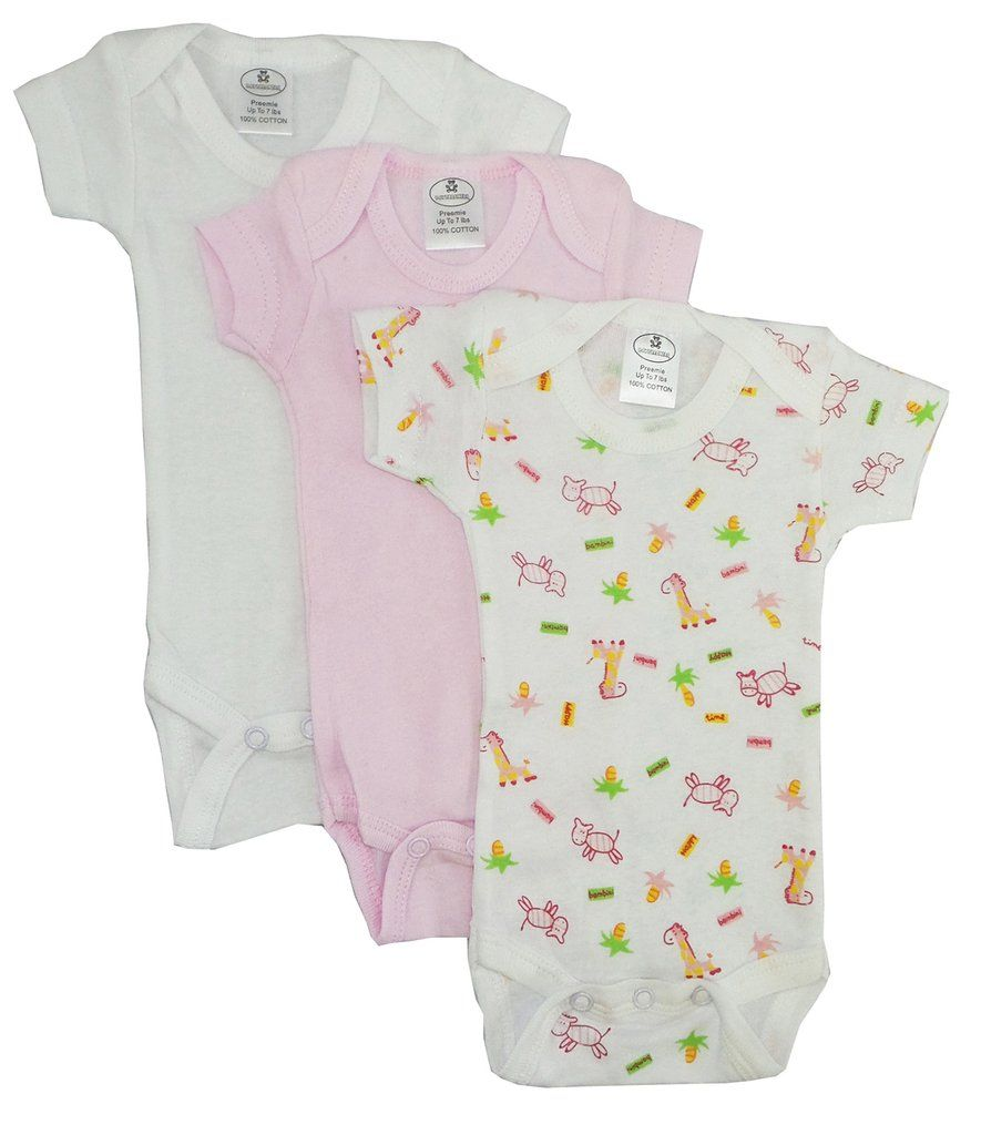 Bambini Baby Newborn Clothes Preemie Jumpsuit  Print Infant Gown 2 Pack cotton