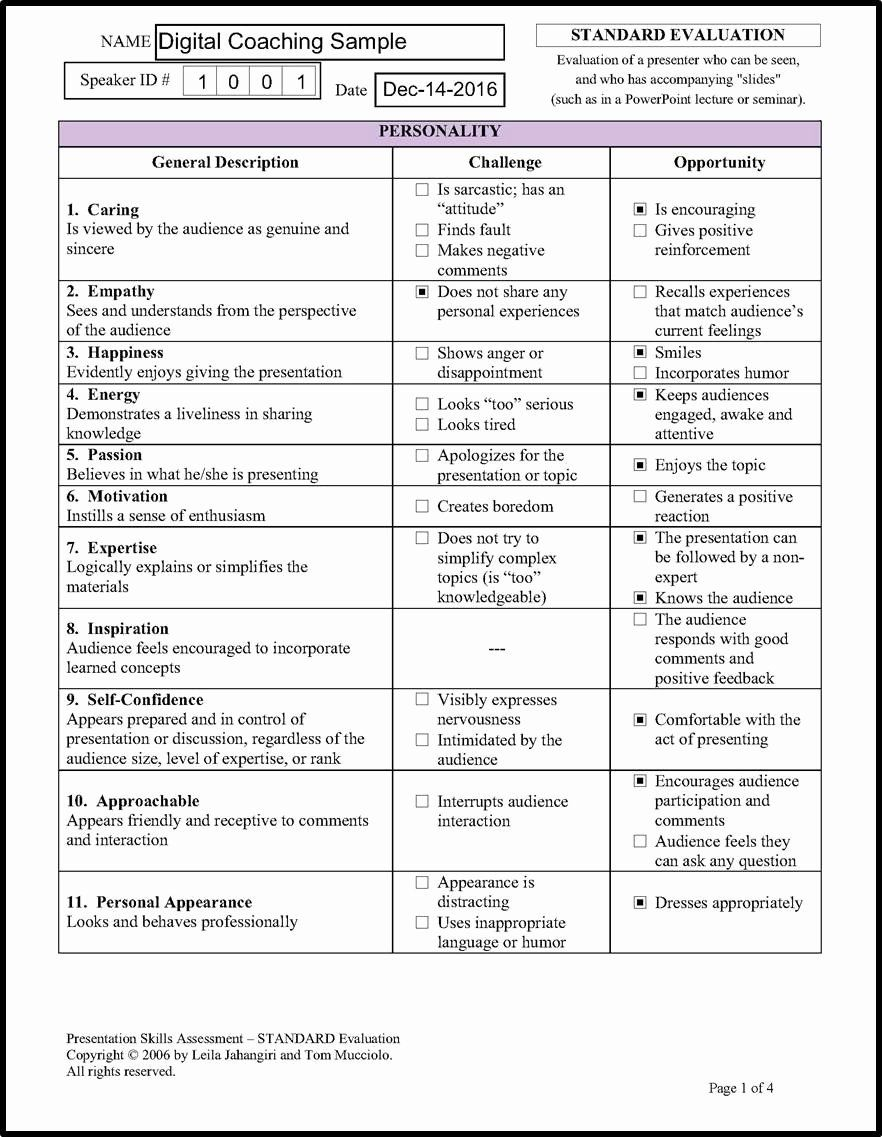 30 individual speech evaluation form in 2020 evaluation
