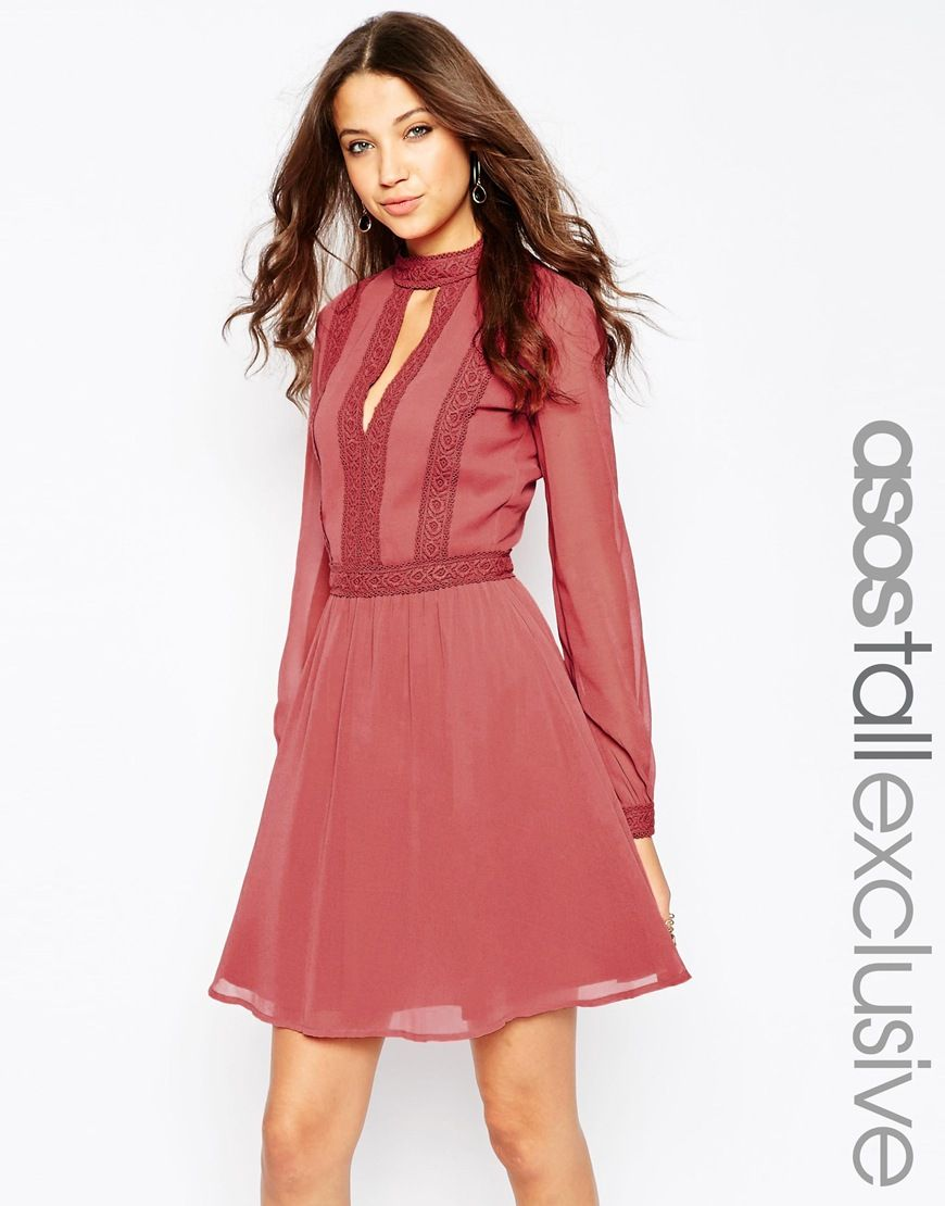 ASOS TALL Skater Dress with Lace Inserts   short skirt, long jacket ...