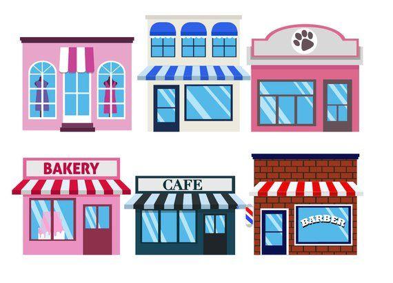 Shops Clipart Town Building Icons Cityscape Etsy In 2020 Shopping Clipart Building Icon Clip Art