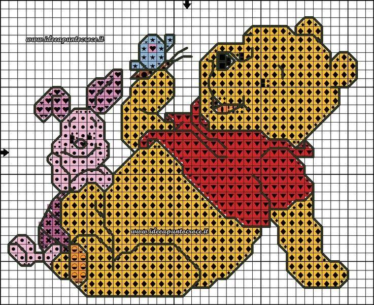 8e0f701e4 SCHEMI WINNIE THE POOH - Idee a Punto Croce | Charts | Cross stitch ...