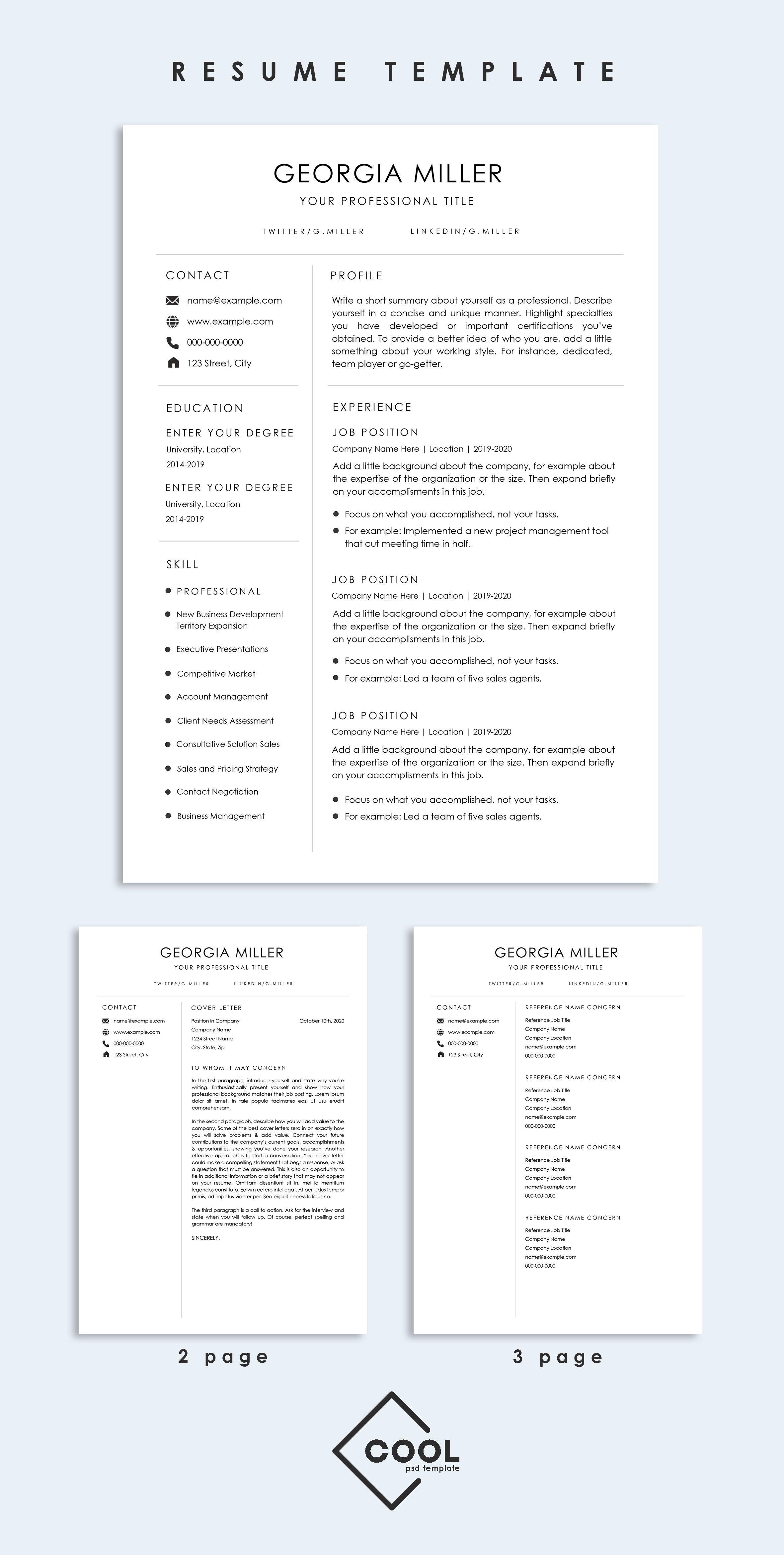 Resume template, Professional resume template, Resume