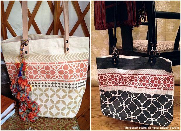 Diy Stencil Tutorial Bohemian Tote Bag Painted With Royal Design Studio Moroccan Stencils