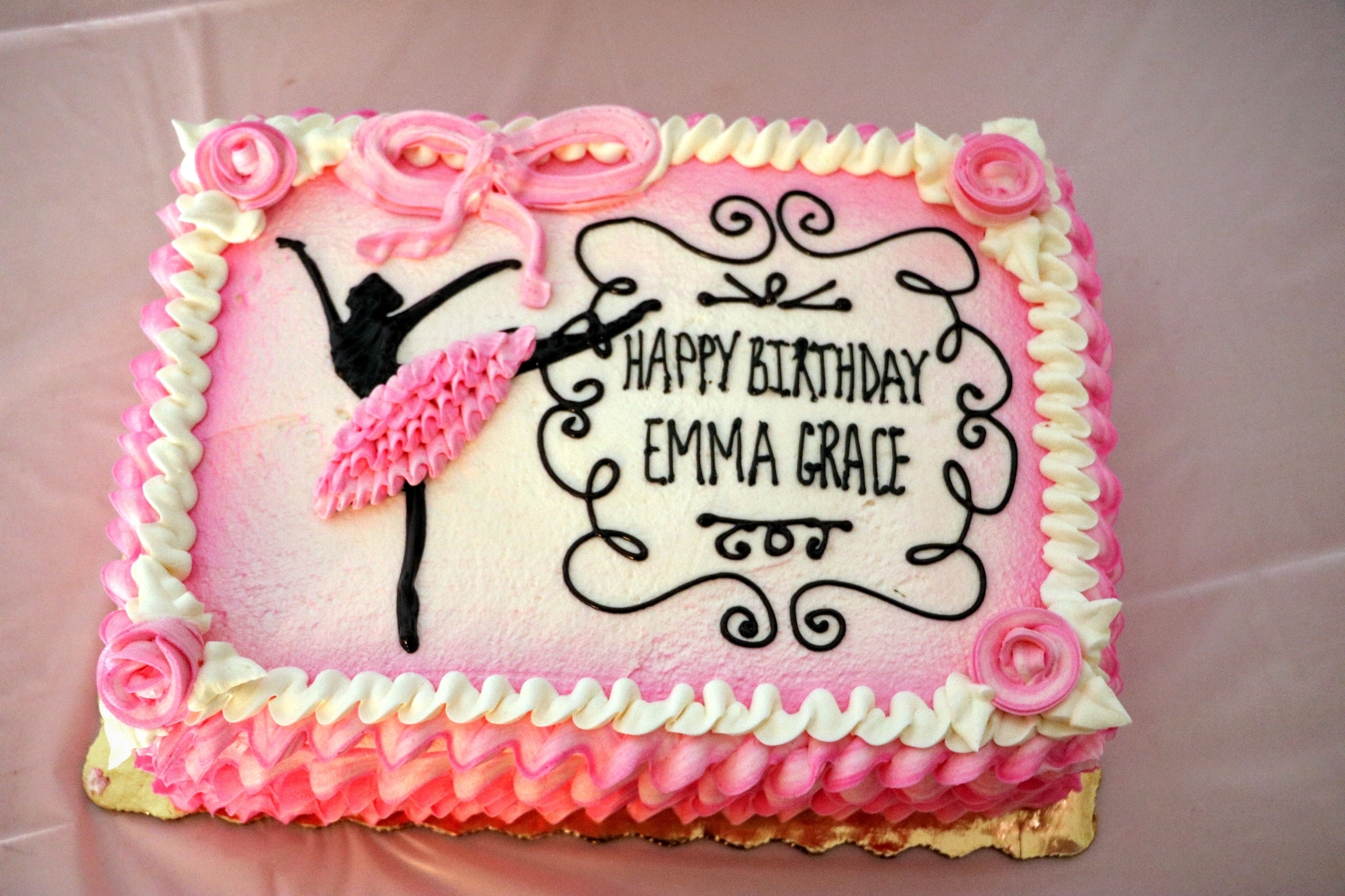 Emmas third birthday cake a ballerina sheet cake Designed by my
