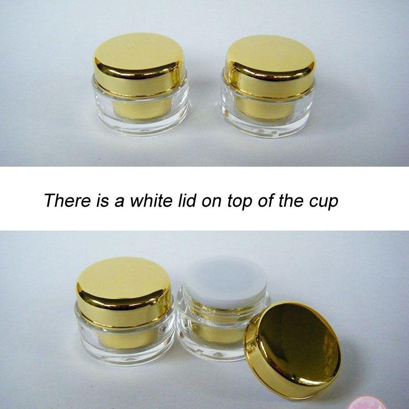 5g Gold Round acrylic cream jar Refillable Bottle Cosmetics Packaging 100pcs/lot