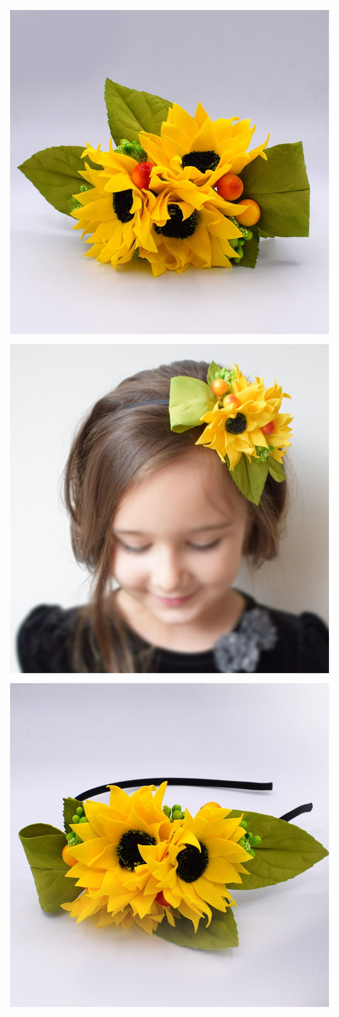 Sunflower Headband Yellow Flower Crown Summer Festival Etsy Flower Hair Accessories Yellow Flower Crown Flower Girl Headbands