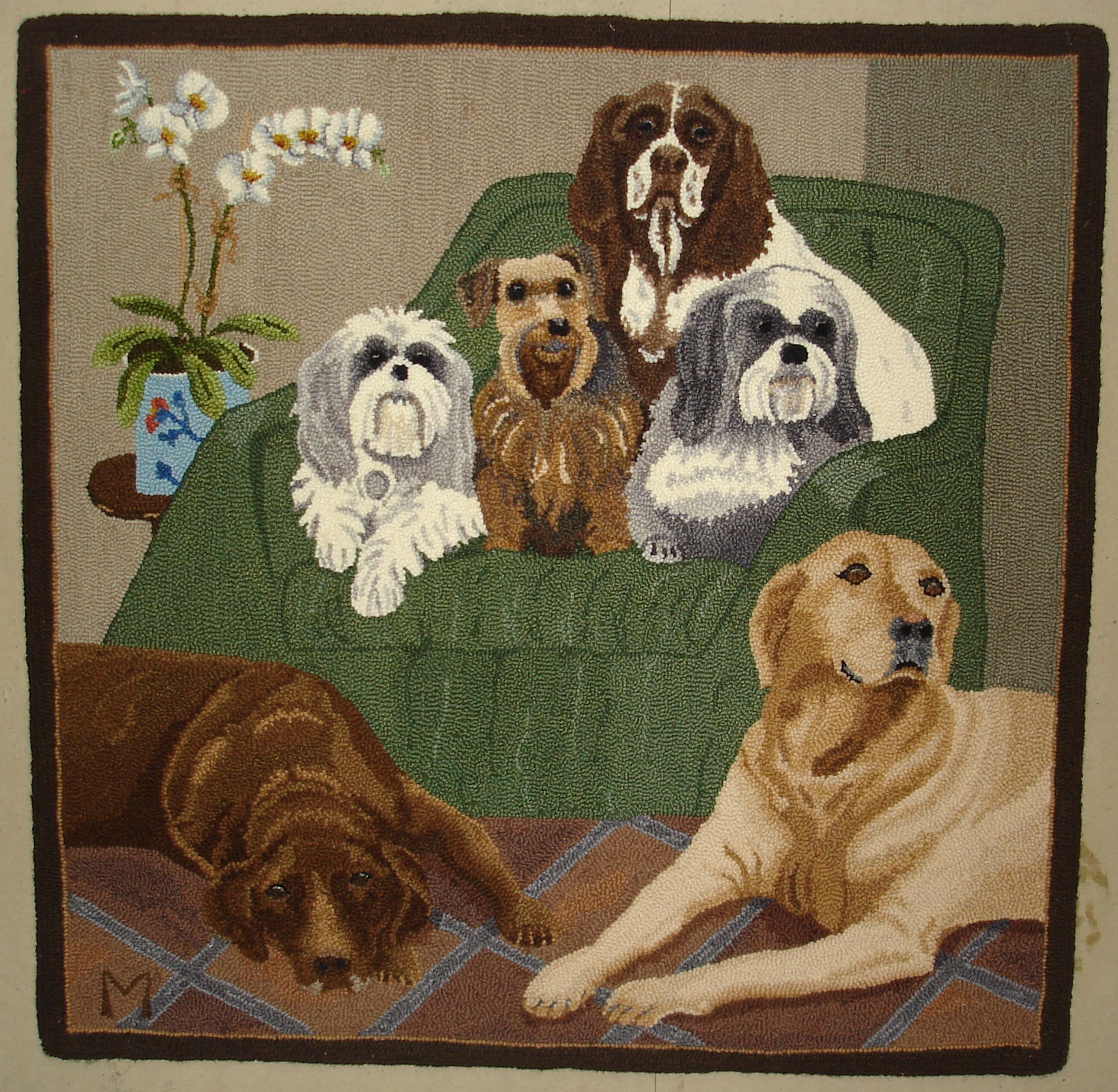 Dog Hooked Rugs: Dog Portrait Six Of Her Best Friends Past And Present