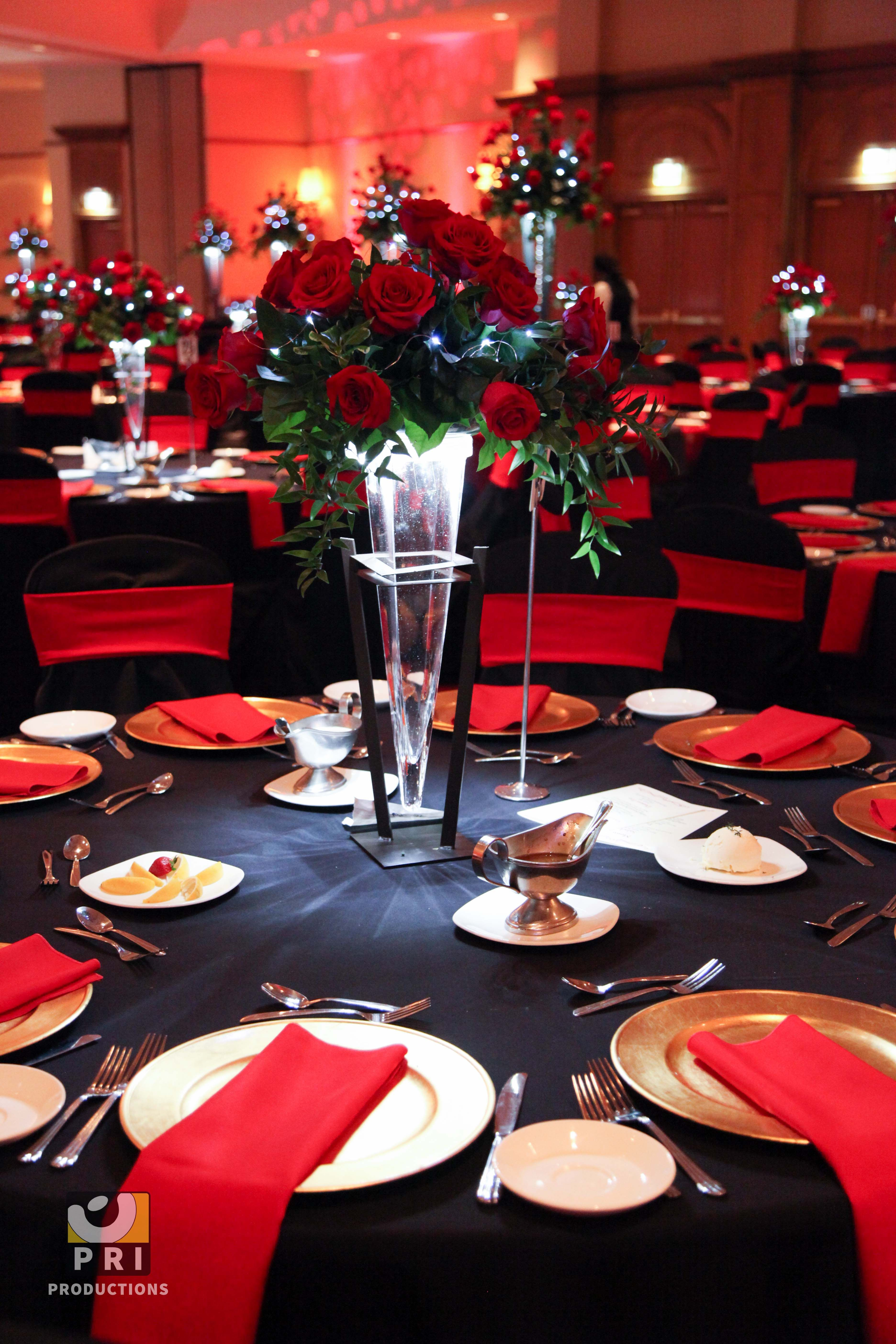 Black tie motown event with classic red rose centerpiece - African american party ideas ...