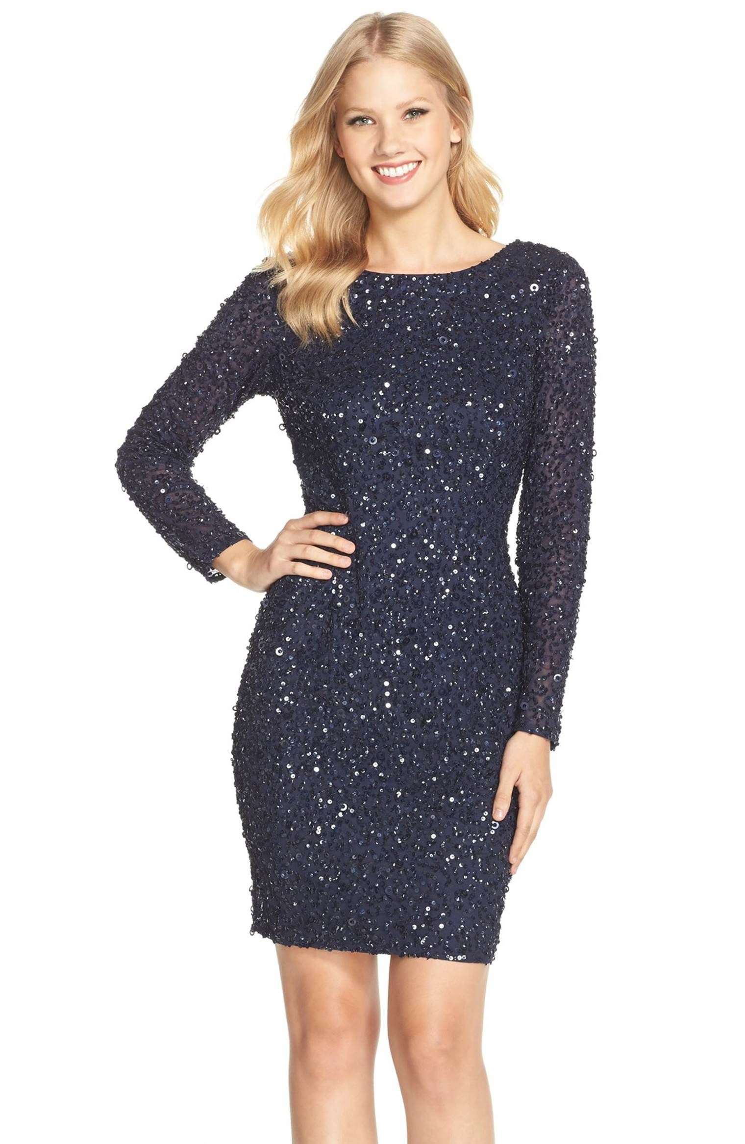 Main Image - Adrianna Papell Embellished Scoop Back Cocktail Dress ...