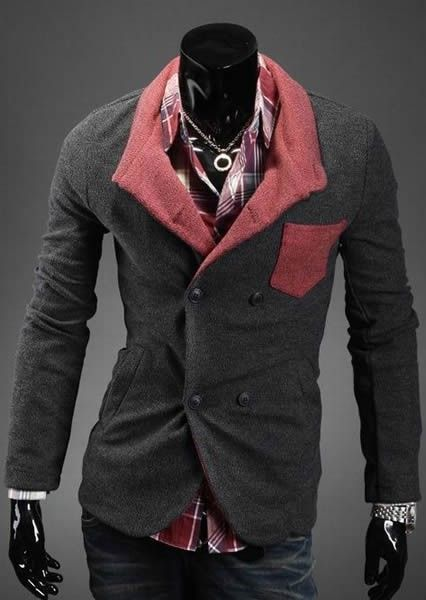 Double-breasted Long Sleeve Men Fashion Skinny Grey Cotton Suit M/L/XL/XXL @X140112g