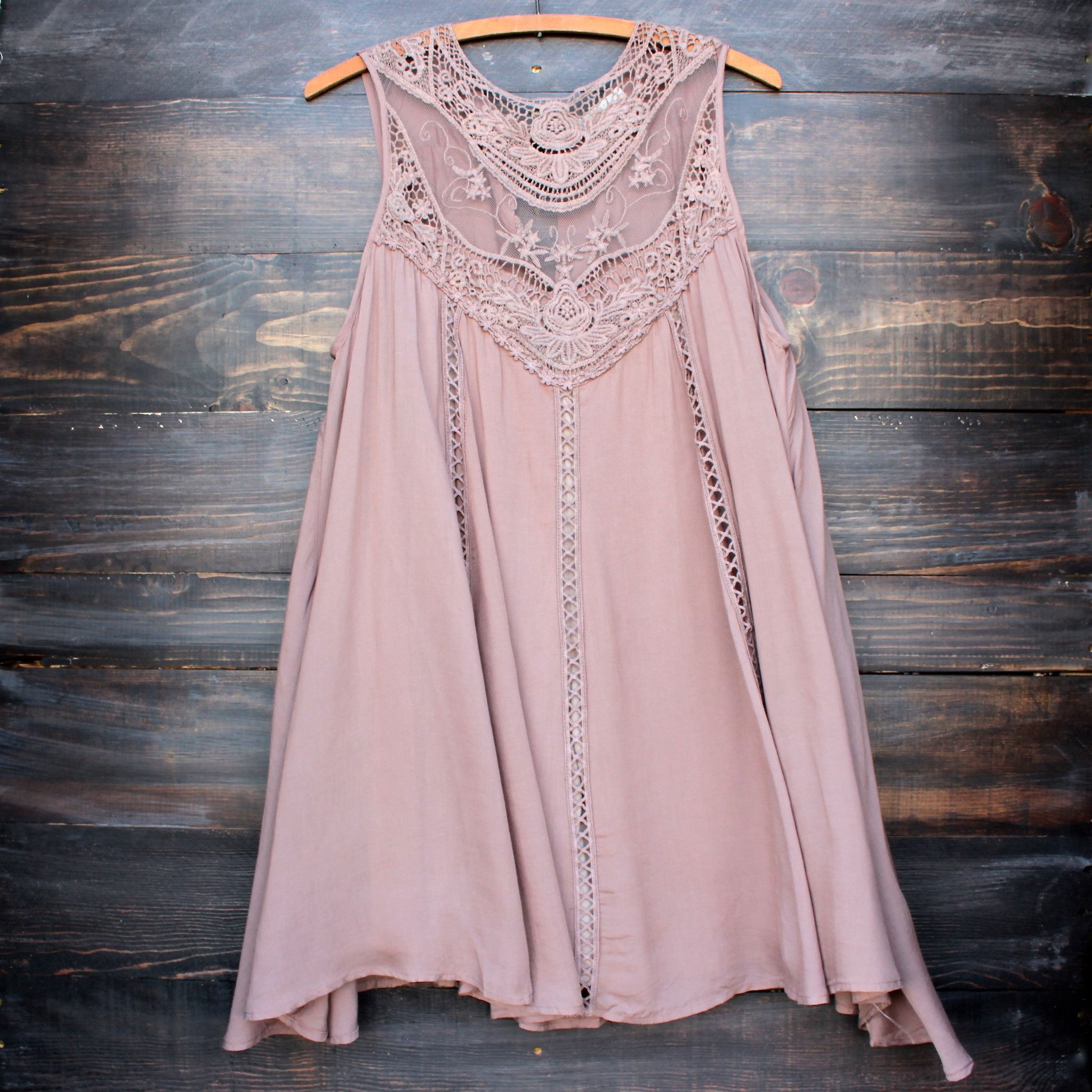 Taupe boho crochet lace dress beautiful sleeve and pandora jewelry