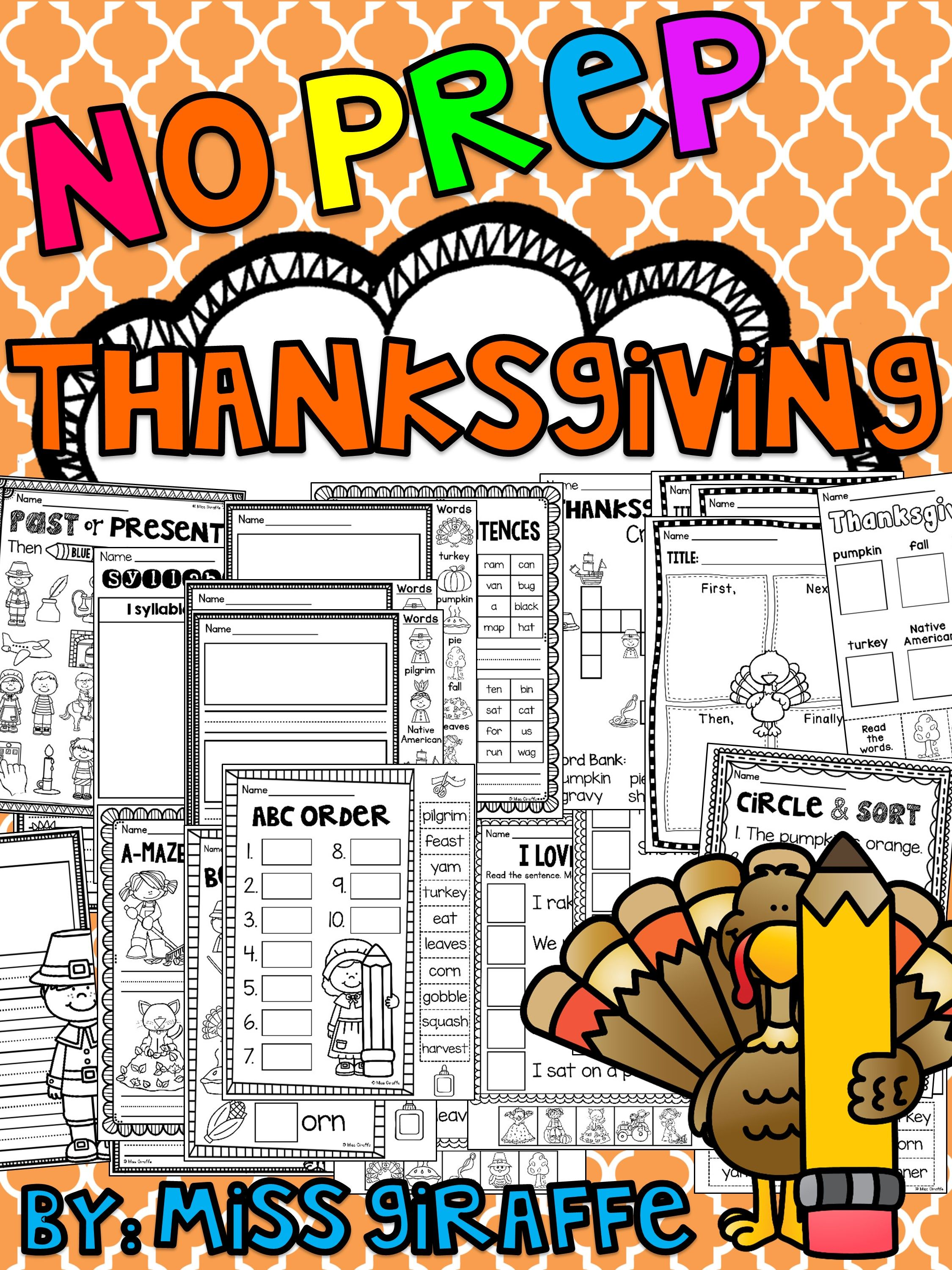 Thanksgiving Activities No Prep November Worksheets And