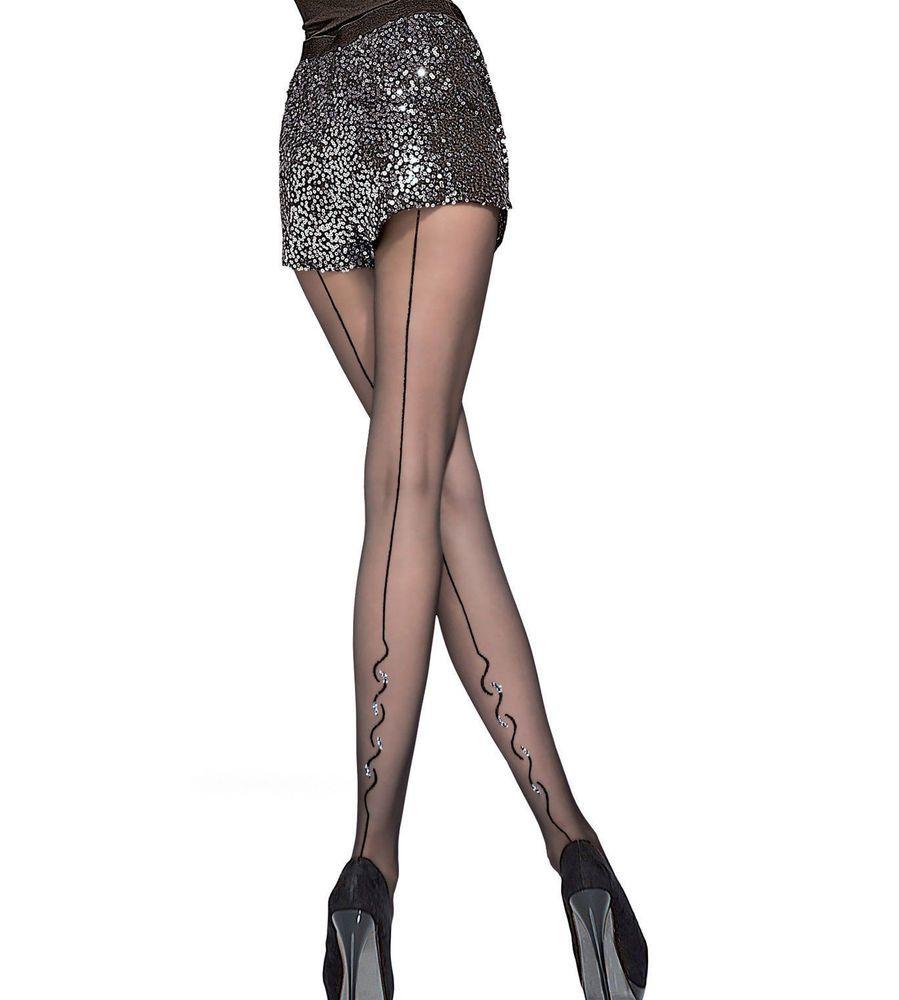 Collant Femme Motif bas dentelle couture fantaisie  Fiore 20Den Noir