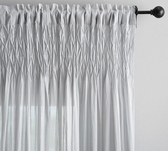 "Smocked Sheer Curtain, 42 X 63"", Gray"