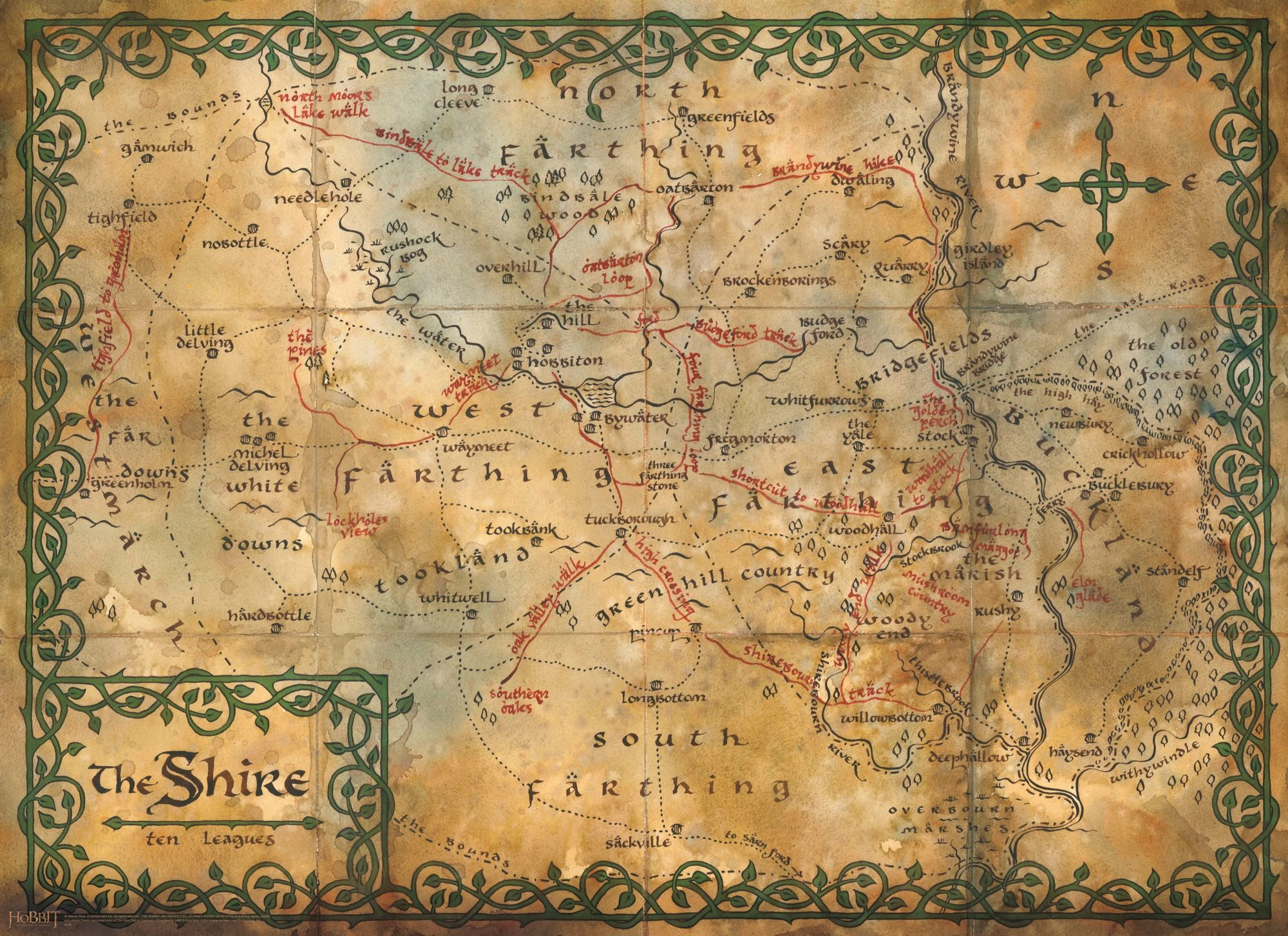 Map of the Shire  Wall Mural available from Wallsauce  Maps of