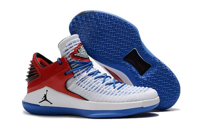 2018 Cheap Air Jordan 32 Low PE White Blue Red Basketball Shoes